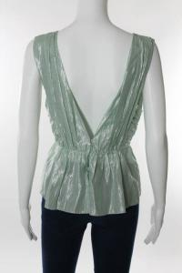 Mint Green Metallic Sleeveless Empire Waist Top Angle5