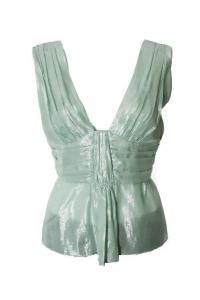 Mint Green Metallic Sleeveless Empire Waist Top