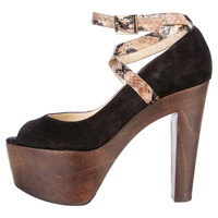 Jimmy Choo Suede Embossed Leather Platform Pumps Angle1