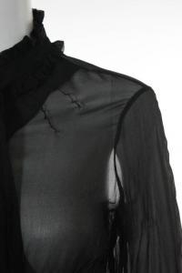 Black Silk Sheer Long Sleeve Ruffled Blouse Top Angle2