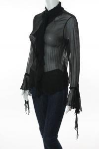 Black Silk Sheer Long Sleeve Ruffled Blouse Top Angle3