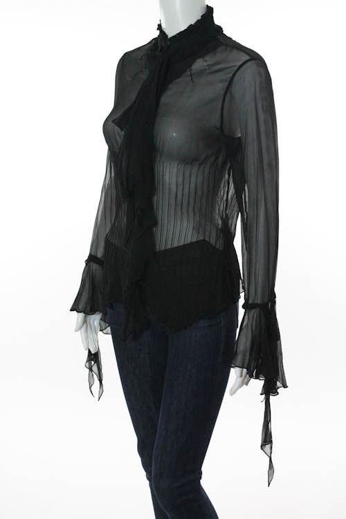Black Silk Sheer Long Sleeve Ruffled Blouse Top