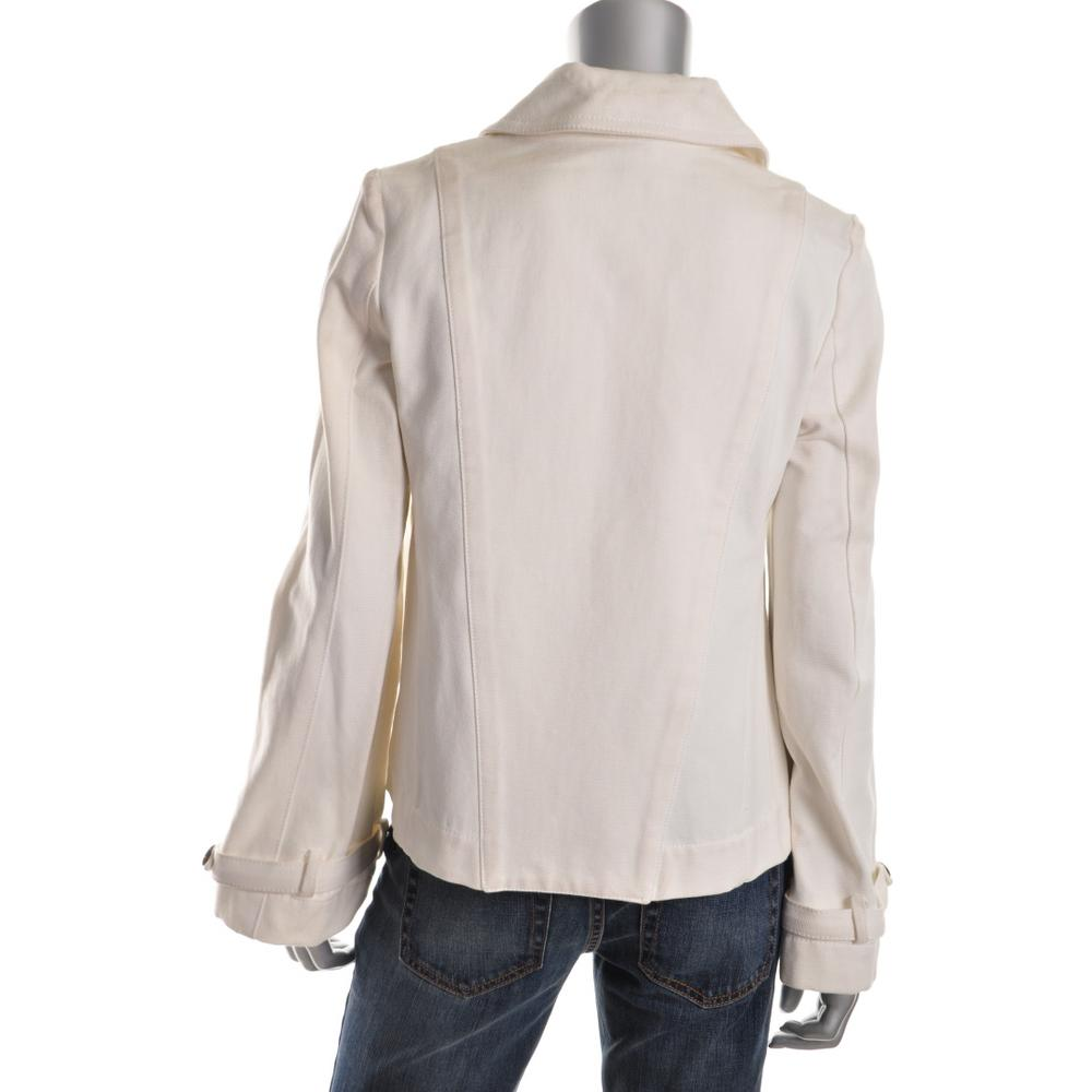 Cotton Canvas Double Breasted Cropped Jacket