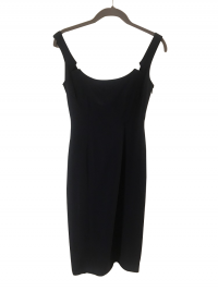 Notched Navy Aberta Ferretti Dress