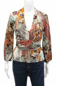 Graphic Print Long Sleeve VNeck Blouse