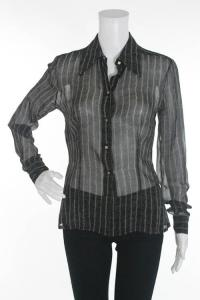 Alberta Ferretti black and tan Sheer blouse