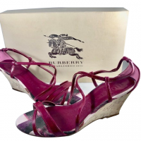 Burberry Raspberry Summer Canvas Wedges