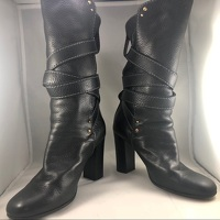 Chloe Black Leather Paddington Wrap Hardware Boots Angle8