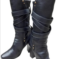 Chloe Black Leather Paddington Wrap Hardware Boots Angle9