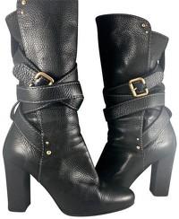 Chloe Black Leather Paddington Wrap Hardware Boots Angle2