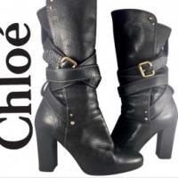 Chloe Black Leather Paddington Wrap Hardware Boots
