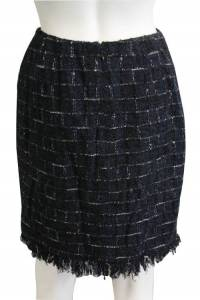Metallic Knee Length Plaid Skirt