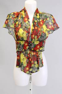 Red Green Yellow Open Front Sheer Blouse