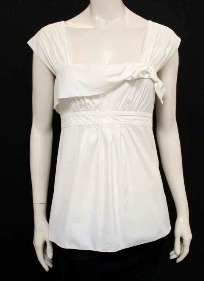 Prada white Sleeveless Bow Cotton Top