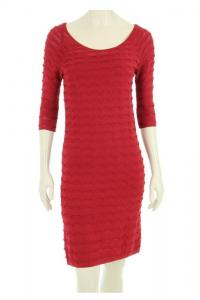 Red Scallop Knit 3/4 Sleeve Dress with Slip