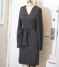Gray wool wrap dress