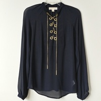 Michael Michael Kors Sheer Chain Tie Blouse