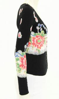 Black Pink and Blue Floral Print Cardigan Sweater