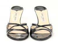 Black Patent Leather Open Toe Cutout Slide Heels Angle3