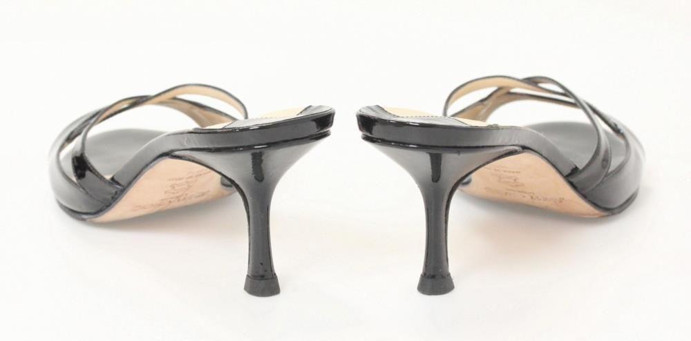 Black Patent Leather Open Toe Cutout Slide Heels
