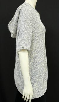 Cream and Blue Short sleeve hooded sweater Angle2