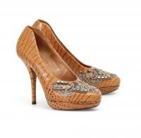 Dries Van Noten Tan Leather Beaded pumps