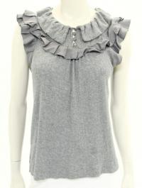 Grey Knit & Satin Ruffle Sleeveless Top