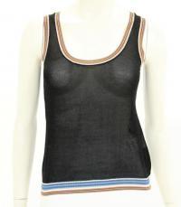 Missoni Black Knit Stripe Trim Sleeveless Top