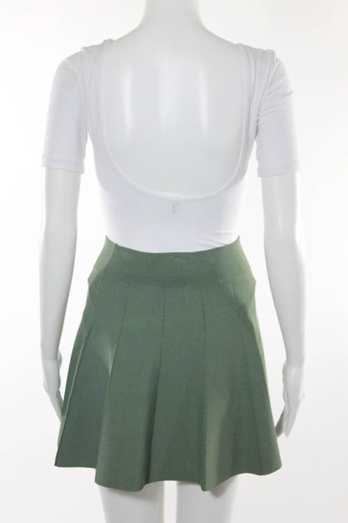 A.L.C Green Knit Pleated flare Skirt