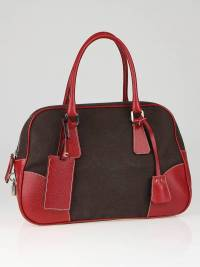 Prada doctor bag in brown canvas and red leather