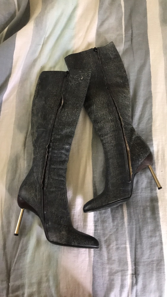 Versace distressed leather boots