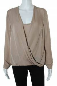 Blush Pink Silk Draped Long Sleeve Blouse Angle1