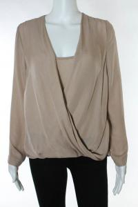 Blush Pink Silk Draped Long Sleeve Blouse Angle5