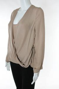 Blush Pink Silk Draped Long Sleeve Blouse Angle2