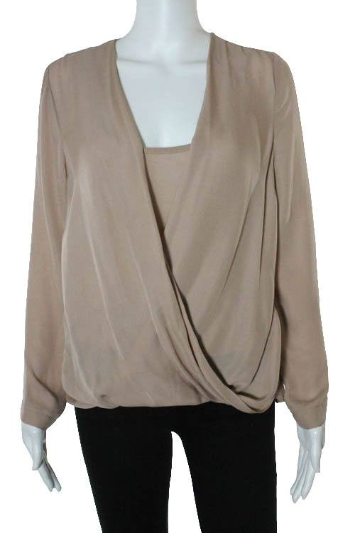 Blush Pink Silk Draped Long Sleeve Blouse