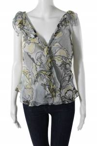 Milly Silk Floral Print V-Neck Knot Detail Blouse Angle1