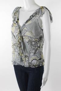 Milly Silk Floral Print V-Neck Knot Detail Blouse Angle3