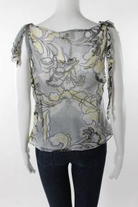 Milly Silk Floral Print V-Neck Knot Detail Blouse Angle4