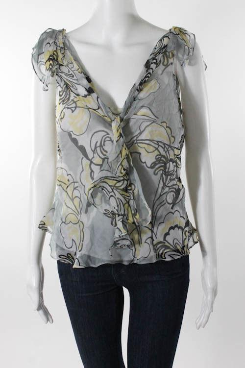 Milly Silk Floral Print V-Neck Knot Detail Blouse