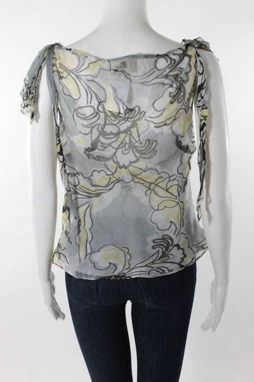 Milly Silk Floral Print V-Neck Knot Detail Blouse
