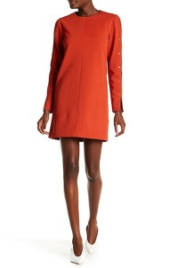 Tibi Orange Paprika Button Shift Dress Angle4