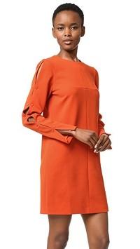 Tibi Orange Paprika Button Shift Dress Angle5