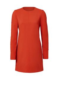 Tibi Orange Paprika Button Shift Dress Angle3