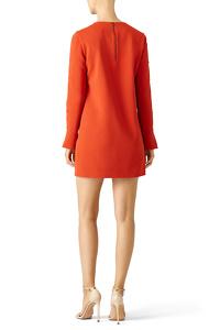 Tibi Orange Paprika Button Shift Dress Angle2