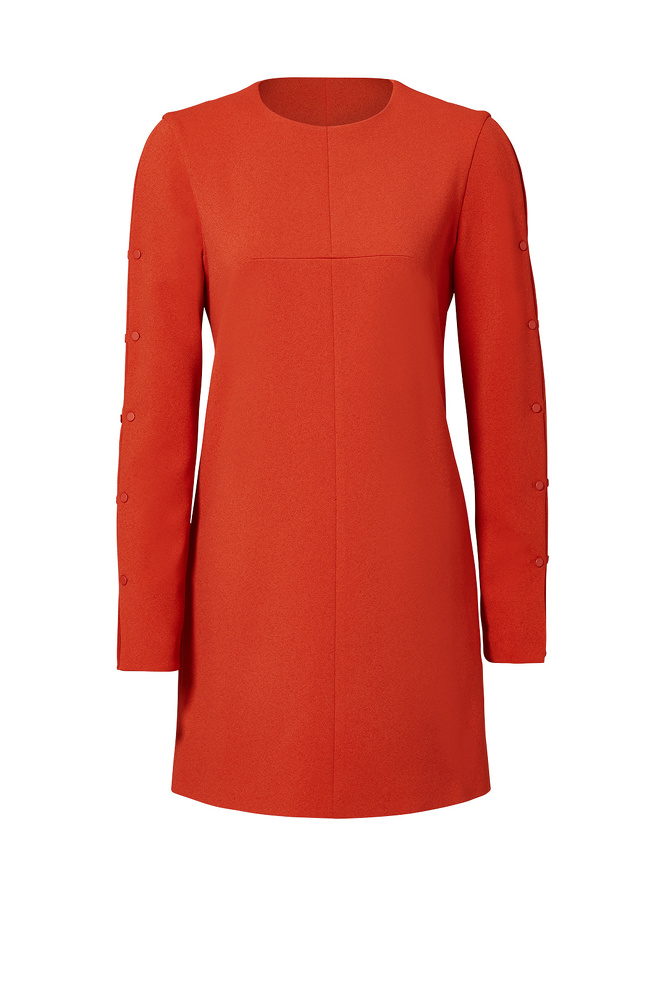 Tibi Orange Paprika Button Shift Dress