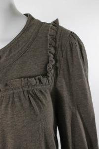 Cotton Round Neck Long Sleeve Button Down Top Angle4