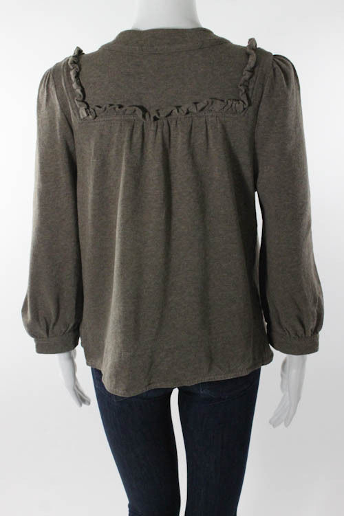 Cotton Round Neck Long Sleeve Button Down Top