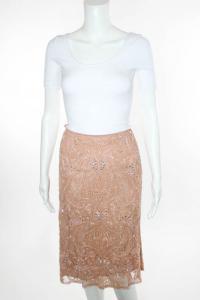 Nude Pink Embellished Knee Length Skirt