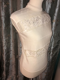 Cream Colored Embellished Top Angle4