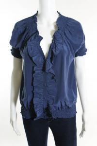Blue Silk Short Sleeve Ruffled Button Up Blouse